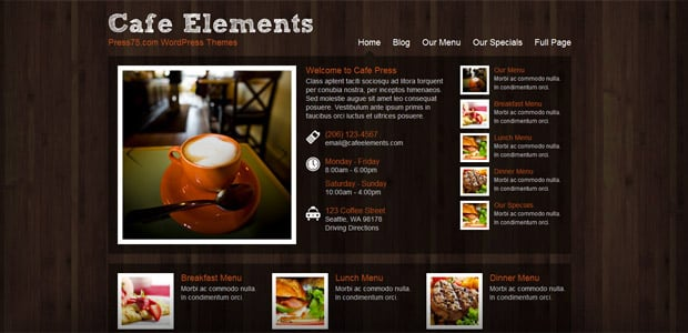 Cafe elements - Theme WordPress Restaurant
