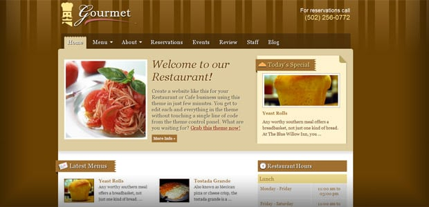 Gourmet - Theme WordPress Restaurant