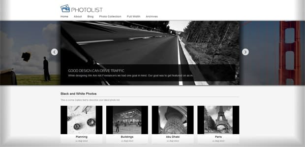 Photolist- Thème WordPress Photo