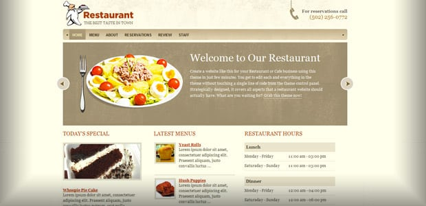 Restaurant - Theme WordPress Restaurant