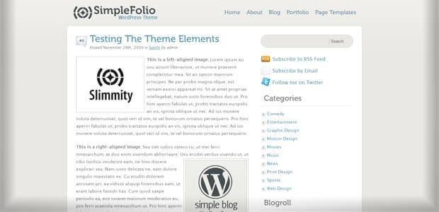 SimpleFolio - Un thème WordPress Gratuit pour votre Blog