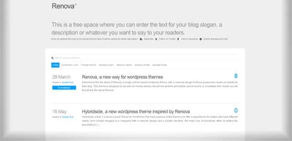 Renova - Theme WordPress Gratuit Minimaliste