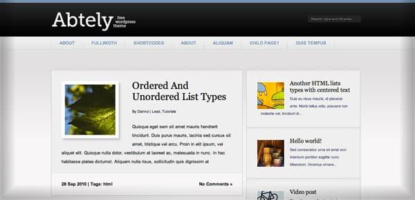 Abtely - Nouveau Theme WordPress Gratuit 2012