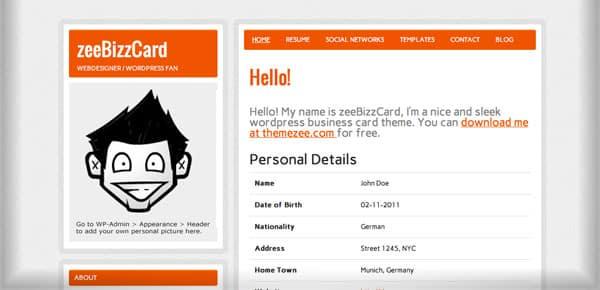 zeeBizzCard - Nouveau Theme WordPress Gratuit 2012