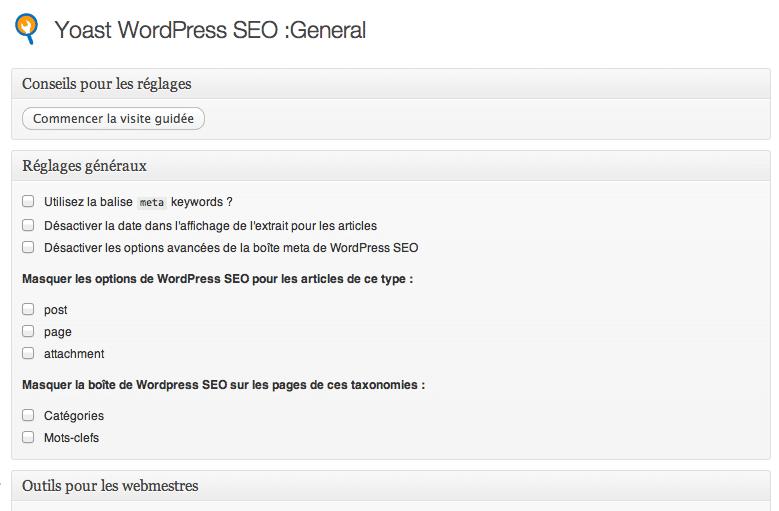 Panneau d'administration WordPress SEO
