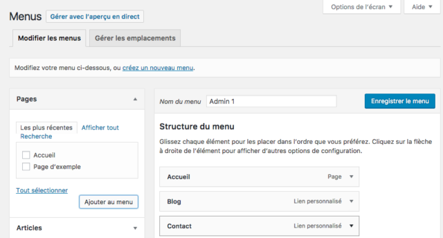 Configurer les menus de WordPress