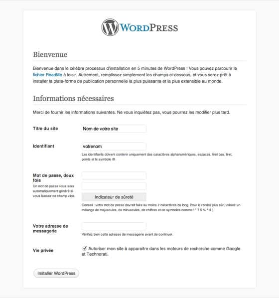 Installer site WordPress