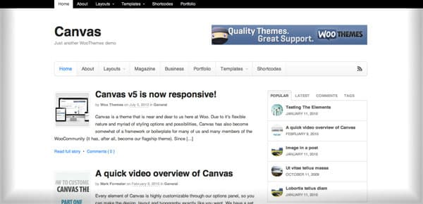 Theme WordPress Minimaliste - Canvas