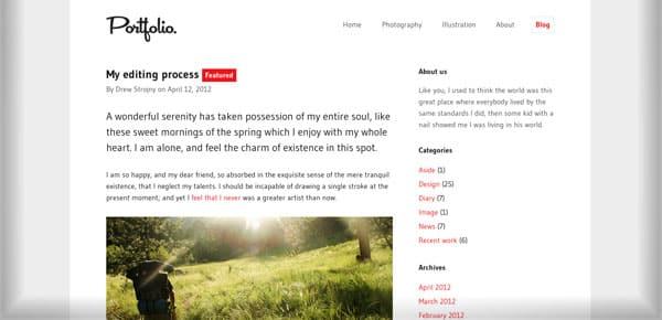 Theme WordPress Minimaliste - Portfolio Theme