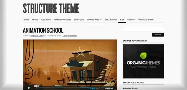 Theme WordPress Minimaliste - Structure