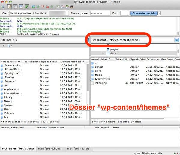Installer Thème WordPress - Allez dans wp-content/themes