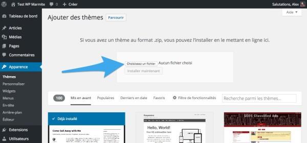 Envoyer le fichier zip de son thème WordPress