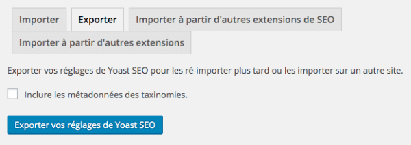 Exporter les réglages de WordPress SEO