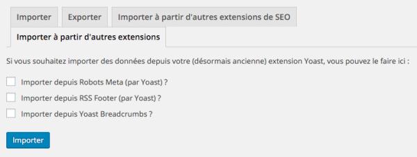 Import des réglages d'autres plugins dans WP SEO