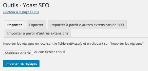 Importer les réglages de WordPress SEO