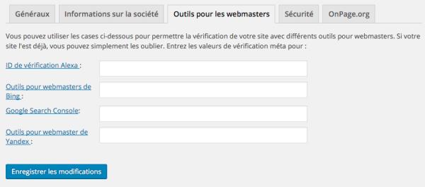 Outils pour les webmasters dans WordPress SEO
