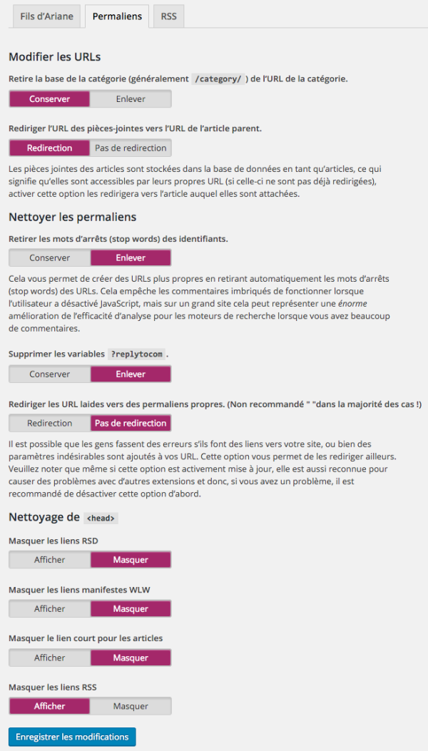 Réglages de permaliens dans WordPress SEO