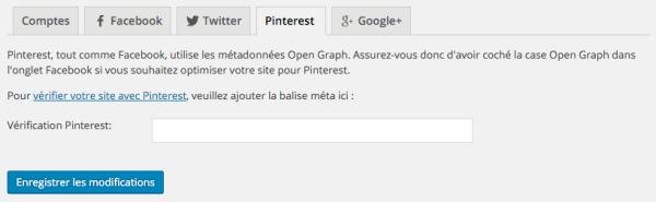Réglages Pinterest dans WordPress SEO