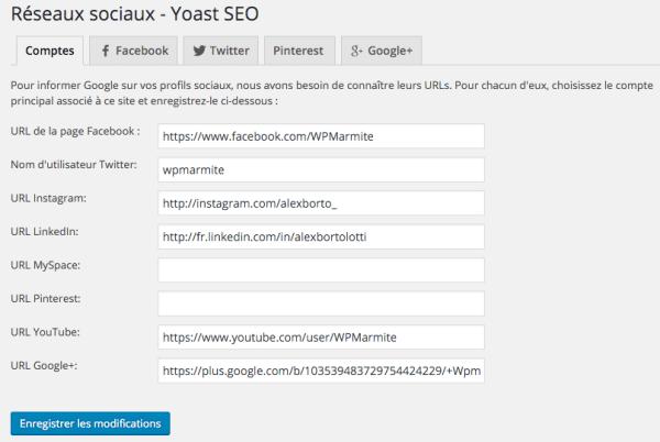 Les réseaux sociaux sur WordPress SEO