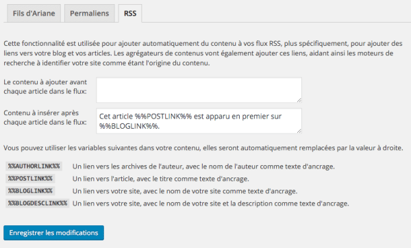 Options des flux RSS dans WordPress SEO