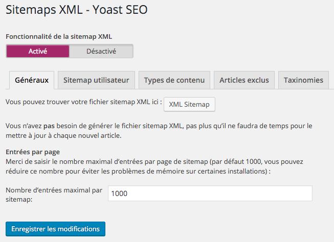Sitemap XML dans Yoast SEO