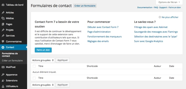 Accueil Contact Form 7