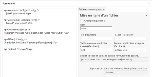 Envoi fichier Contact Form 7