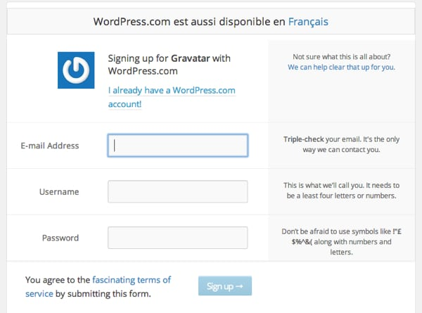 Creation compte WordPress.com