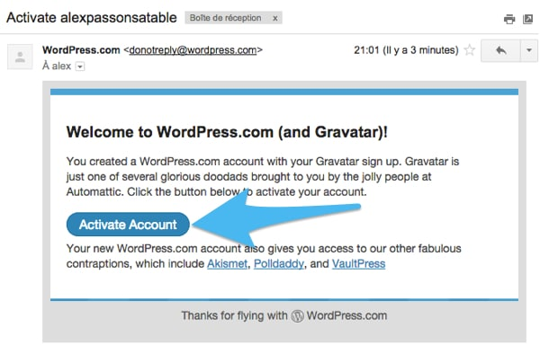 Email activation Gravatar