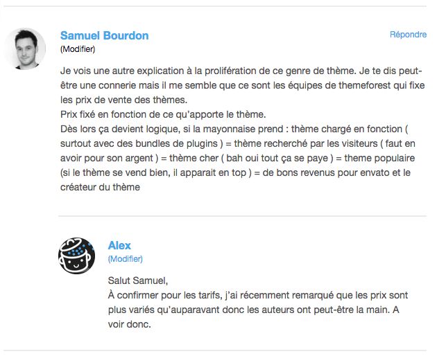 Exemples de gravatars sur WordPress