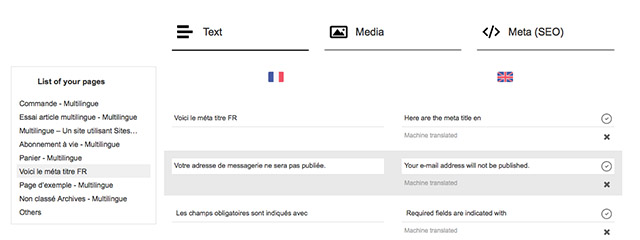 Interface de traduction de WeGlot