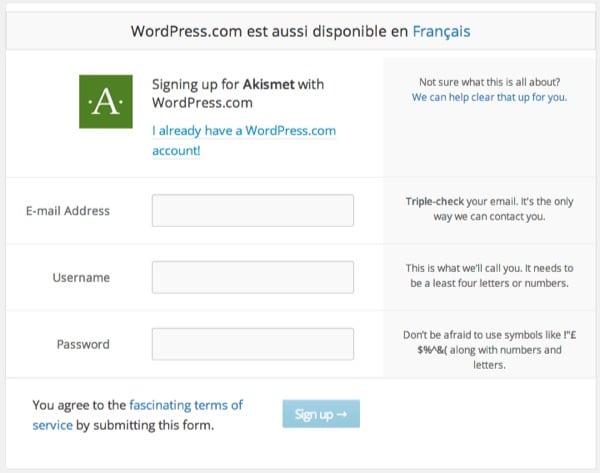 Inscription WordPress.com