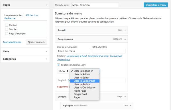 Configuration du plugin if menu