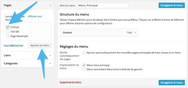Ajout d'élement au menu WordPress