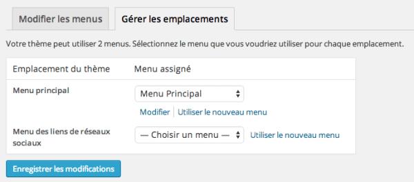 Gérer les emplacements des menus dans WordPress