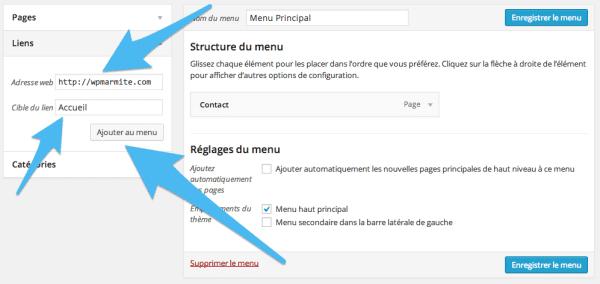 Ajouter un lien à un menu WordPress