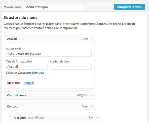 Menu déplié WordPress