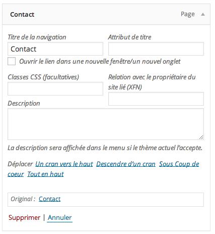 Options avancées des menus WordPress