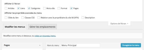 Options cachées des menus WordPress