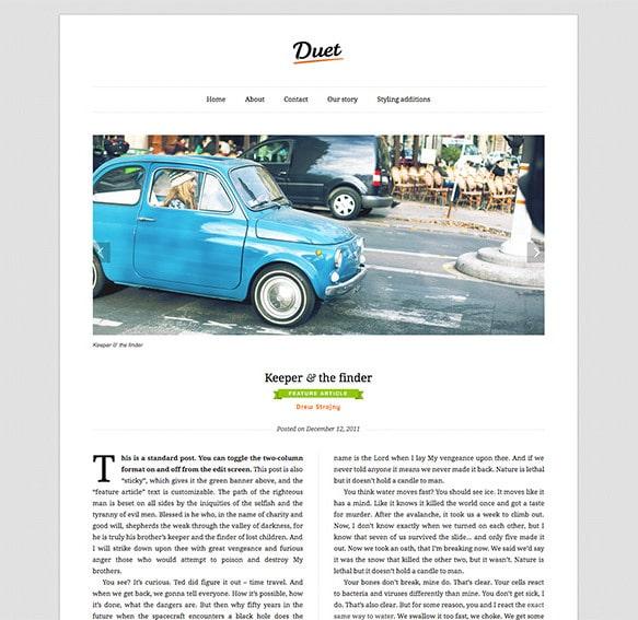 Duet, un thème WordPress qui aide à la lecture