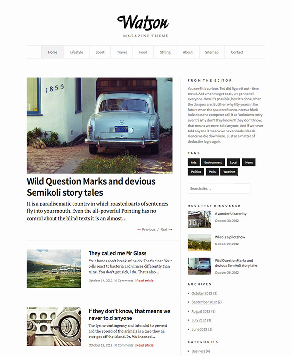 Watson, un template WordPress pour blogs