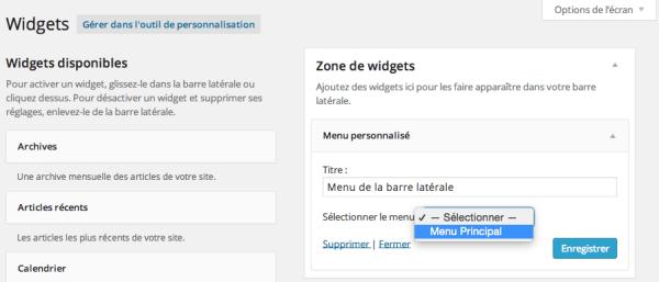 Utilisez le widget menu personnalisé de WordPress
