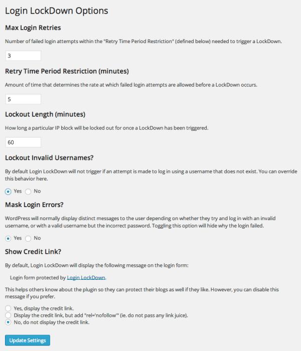 Options de Login Lockdown