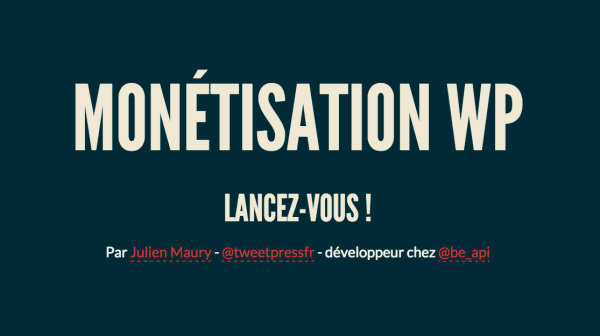 Monetisation WordPress Julien Maury