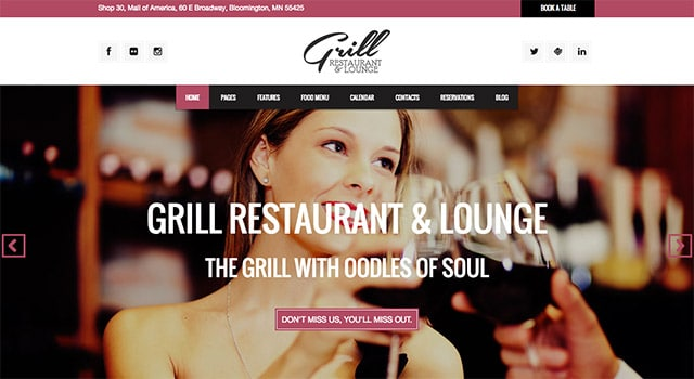 Grill, un template WordPress restaurant