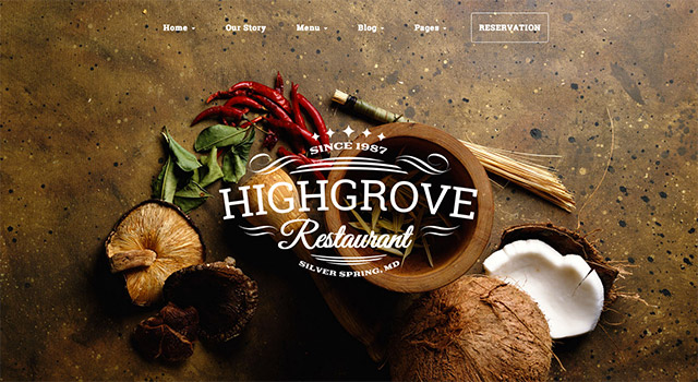 Template WordPress restaurant Highgrove