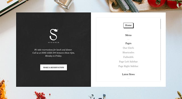 Spooner, un template WordPress restaurant