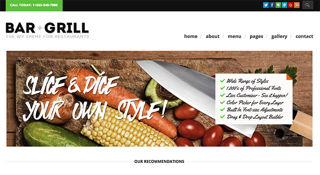 Bar Grill, un thème WordPress-restaurant
