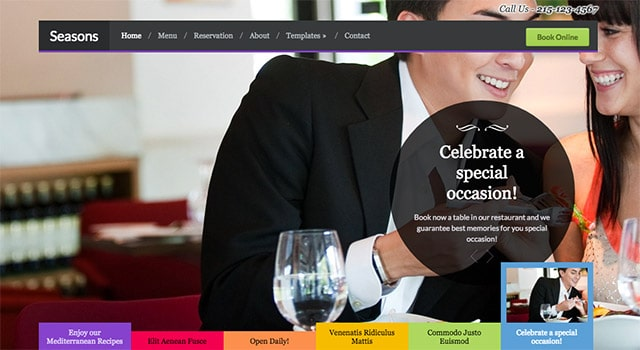 Seasons, un thème WordPress pour sites de restaurants