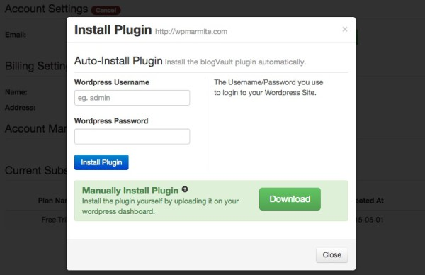 Installation du plugin BlogVault